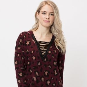Lace-Up Leopard Print Sweater